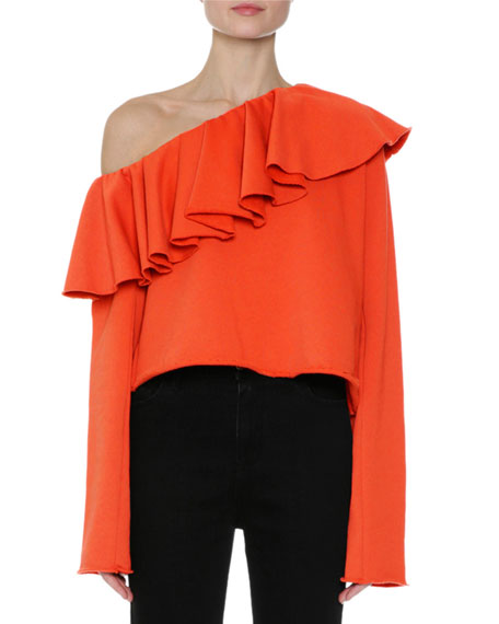 MSGM Ruffled One-Shoulder Long-Sleeve Sweatshirt, Orange