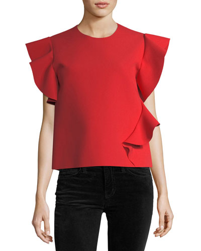 Ruffle-Sleeve Jewel-Neck Ponte Top
