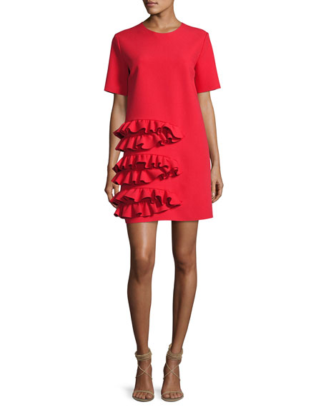 MSGM Ruffle-Front Short-Sleeve Crepe Dress, Red