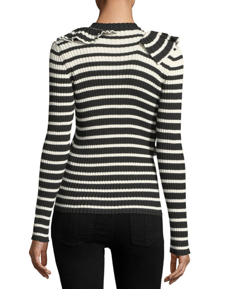 Ruffle Front Striped Rib-Knit Sweater