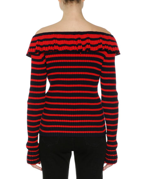 Off-the-Shoulder Striped Sweater, Red/Blue