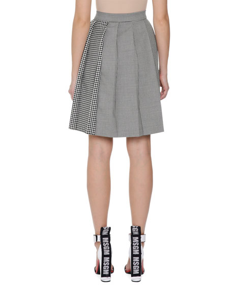 Plaid Pleated High-Waist Skirt, Black/White