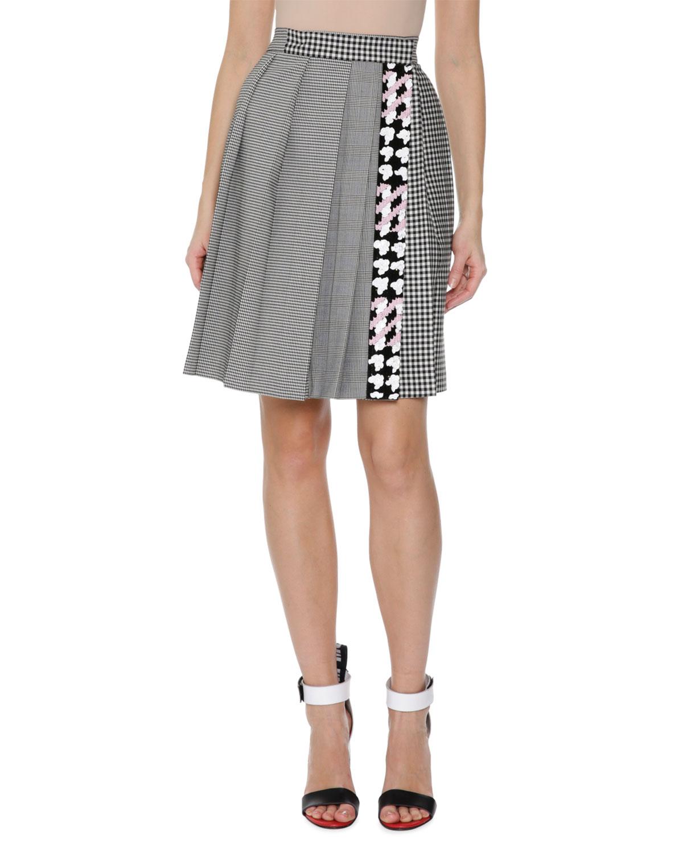 c8f704528865 MSGM Plaid Pleated High-Waist Skirt