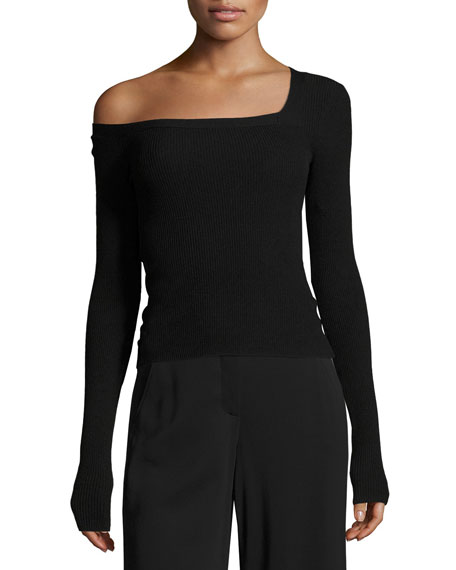 A.L.C. Aria One-Shoulder Long-Sleeve Sweater, Black