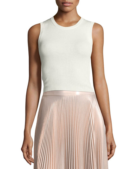 Herrick Sleeveless Silk Top, White