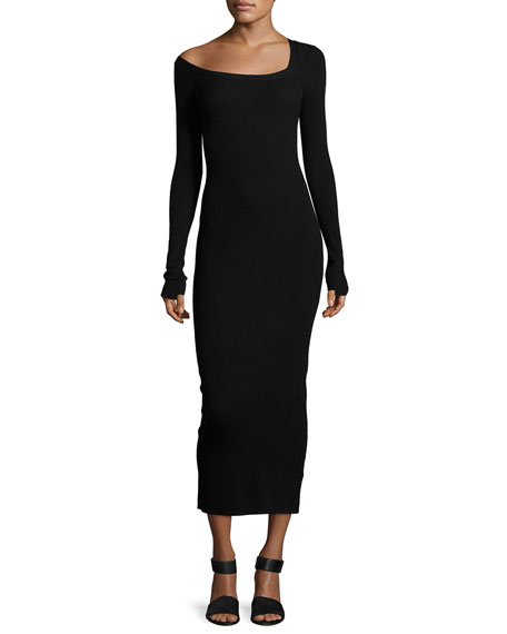 Brynn Long-Sleeve Sweater Dress, Black