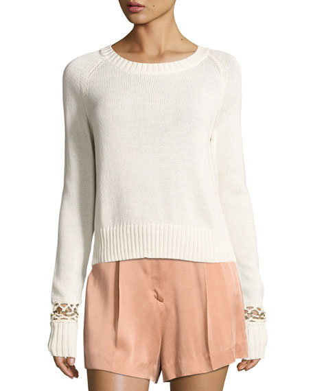 A.L.C. Dree Cotton Pullover Sweater w/ Bracelet Detail,