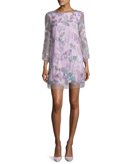 Marchesa Notte 3/4-Sleeve Tulle Butterfly Tunic Cocktail Dress,