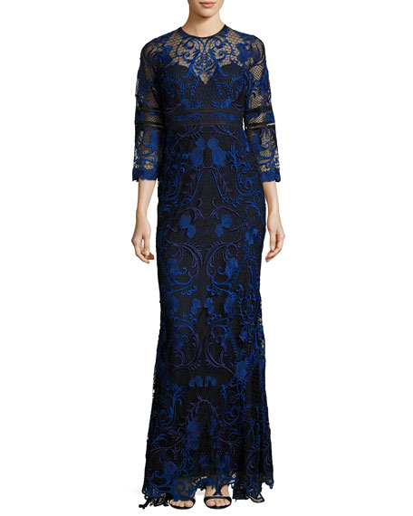 Marchesa Notte 3/4-Sleeve Floral Lace Gown, Navy