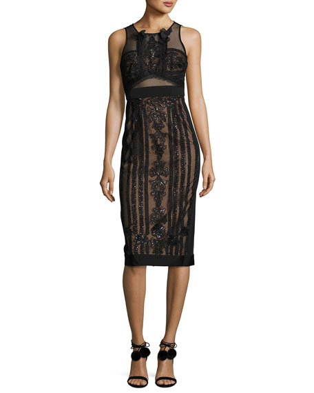 Marchesa Notte Sleeveless Embellished Semisheer Sheath Cocktail