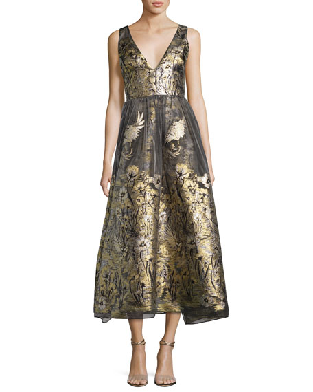 Marchesa Notte Sleeveless Floral Lamé Fil Coupe Cocktail