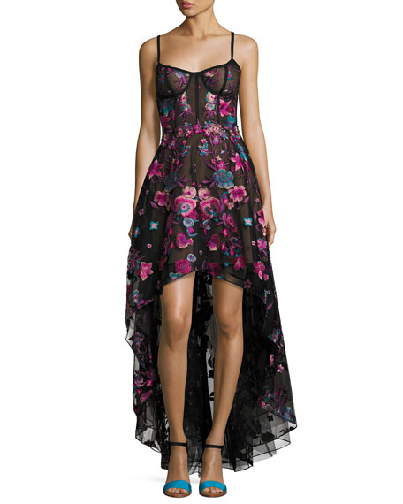 Sleeveless Embroidered Tulle High-Low Gown, Black