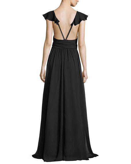 Sleeveless Crinkled Chiffon Ruffle Gown, Black