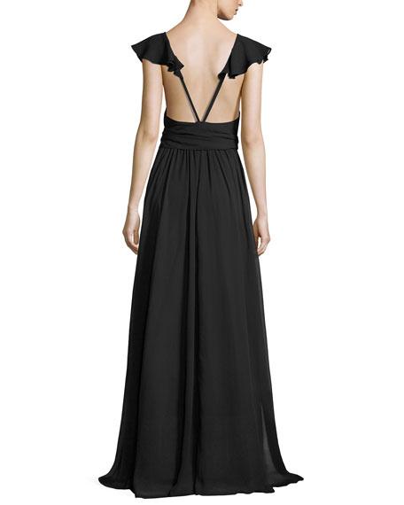 Sleeveless Crinkled Chiffon Ruffle Gown, Black