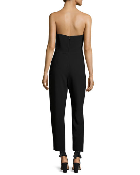Strapless Cropped Crepe Jumpsuit, Black