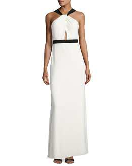 Sleeveless Two-Tone Crepe Gown, Off White/Black