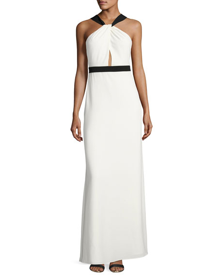 Sleeveless Two-Tone Crepe Gown, Off White/Black