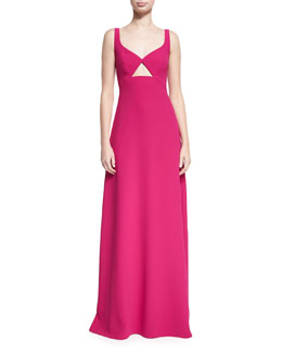 Sleeveless Cutout Crepe Evening Gown, Punch