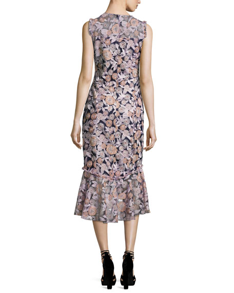 Barlett Sleeveless Floral Midi Dress, Multicolor
