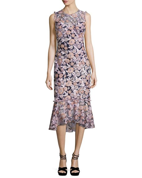 Shoshanna Barlett Sleeveless Floral Midi Dress, Multicolor