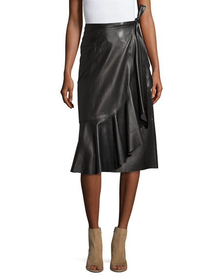 helmut lang leather ruffle a line midi skirt black
