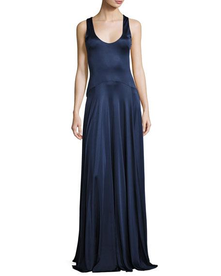 Leora Sleeveless Stretch Satin Circle Gown, Navy