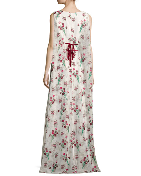 Trudey Floral Gauze Cape Gown, Red Velvet/Cake