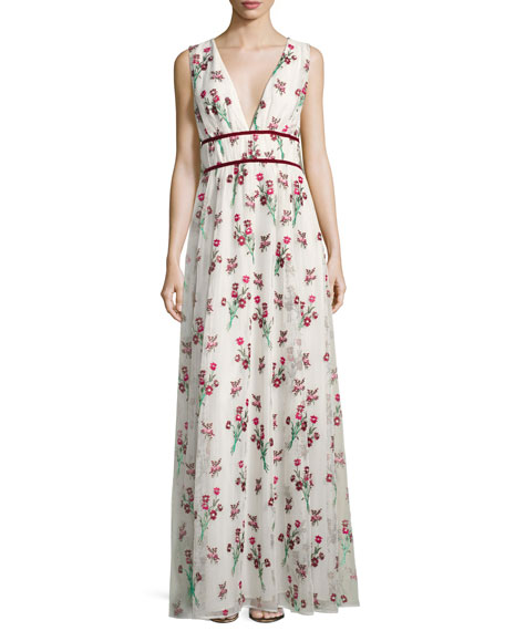 ZAC Zac Posen Trudey Floral Gauze Cape Gown,