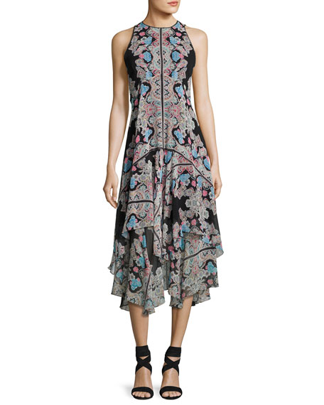 Wild Heart Sleeveless Silk Chiffon Kaleidoscope Midi Dress, Black/Multicolor