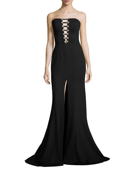Jovani Strapless Button Bustier Mermaid Gown