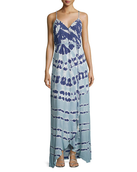 Lorelai Tie-Dye Maxi Wrap Dress, Blue