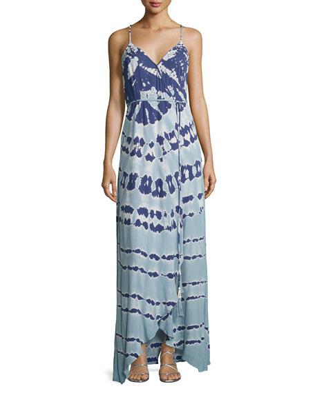 Lorelai Tie-Dye Maxi Wrap Dress, Blue