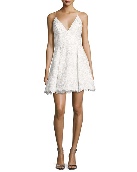 Jovani Sleeveless Floral Lace Fit-and-Flare Cocktail Dress, Off