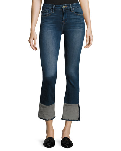 Le Crop Mini Boot Reverse Overlock Cuff Jeans, Blue