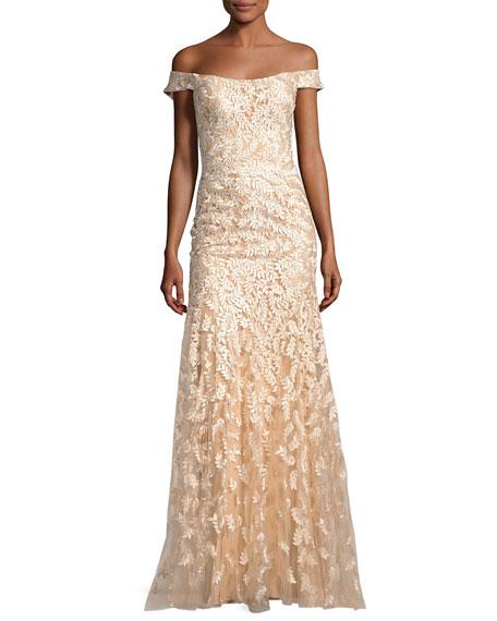 Off-the-Shoulder Tulle Leaf Gown, Gold