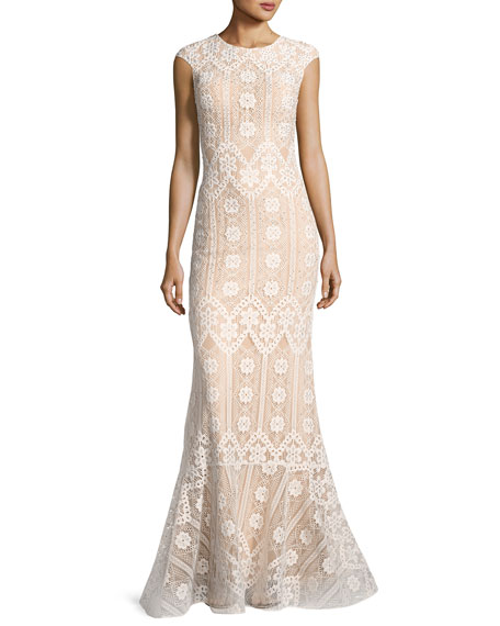 Jovani Cap-Sleeve Geometric Lace Mermaid Gown, White/Nude