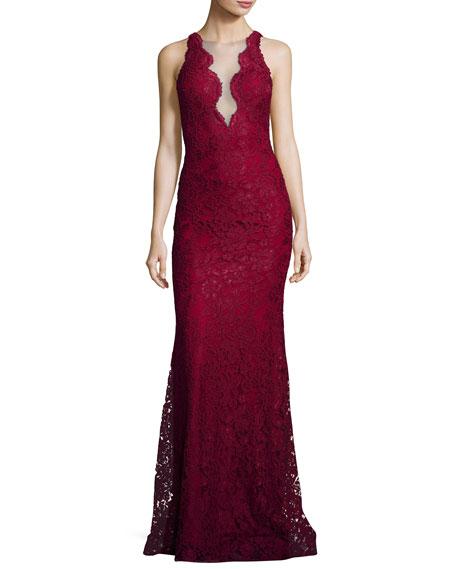 Jovani Deep V-Neck Lace Mermaid Gown, Burgundy