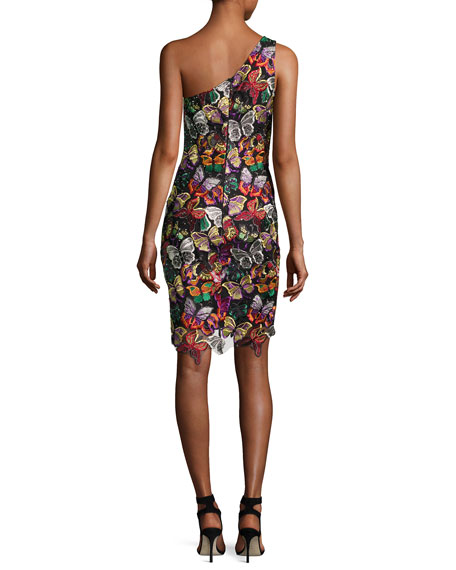 One-Shoulder Beaded Butterfly Cocktail Dress, Multicolor