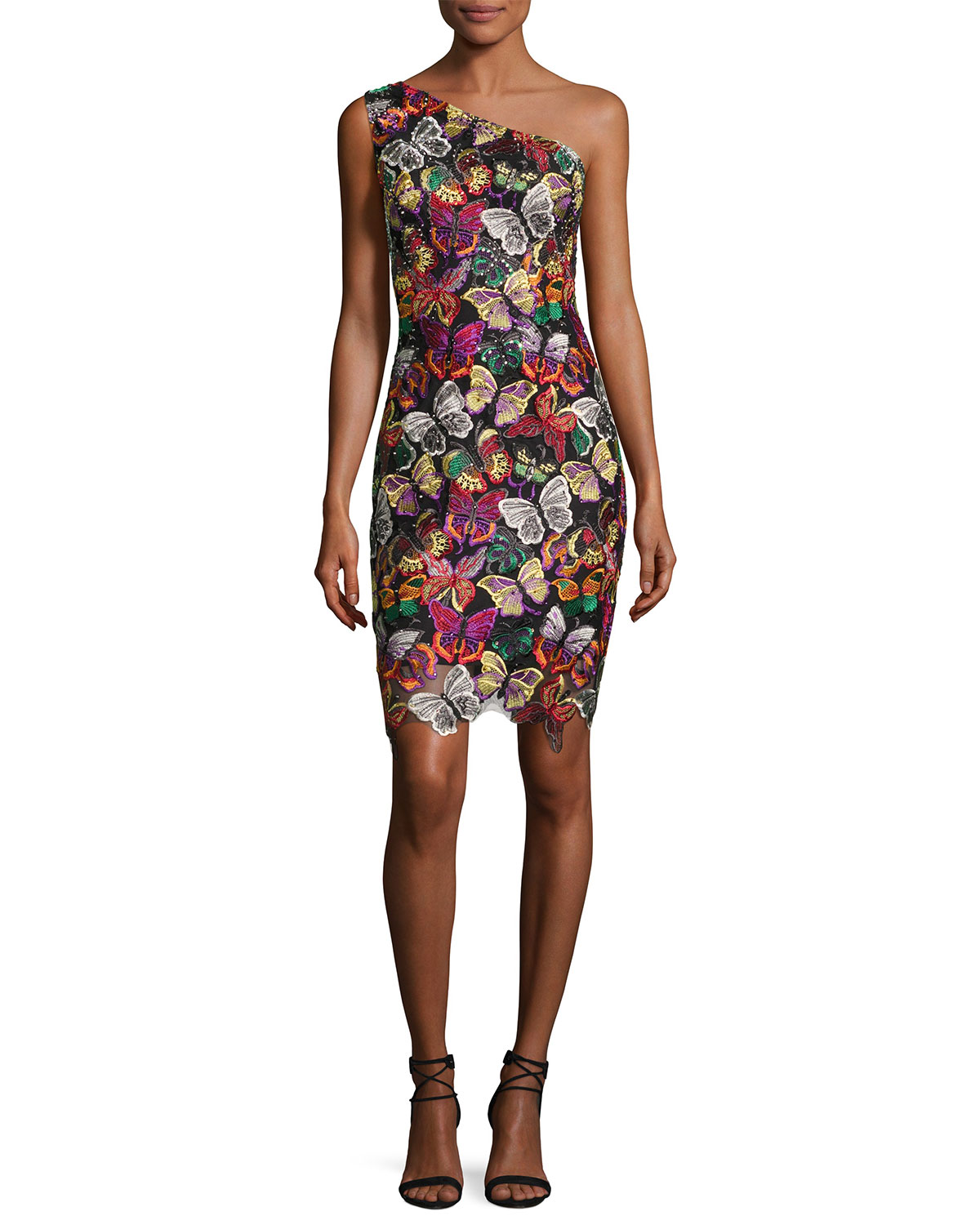 e5ac2dc559 Jovani One-Shoulder Beaded Butterfly Cocktail Dress