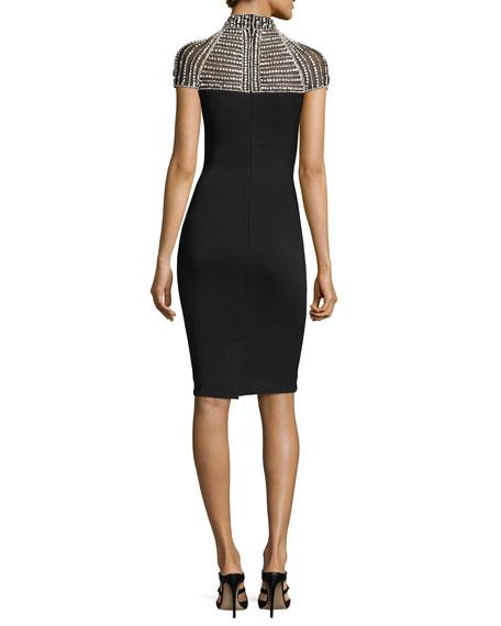Cap-Sleeve Stretch Crepe Rhinestone Cocktail Dress, Black