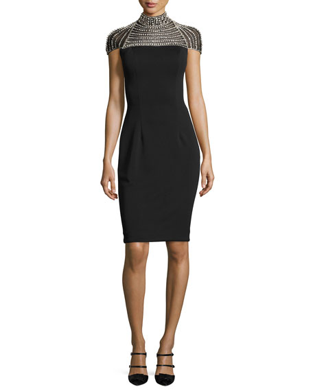 Jovani Cap-Sleeve Stretch Crepe Rhinestone Cocktail Dress, Black