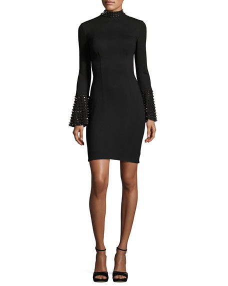 Jovani Studded Bell-Sleeve Stretch Crepe Cocktail Dress, Black