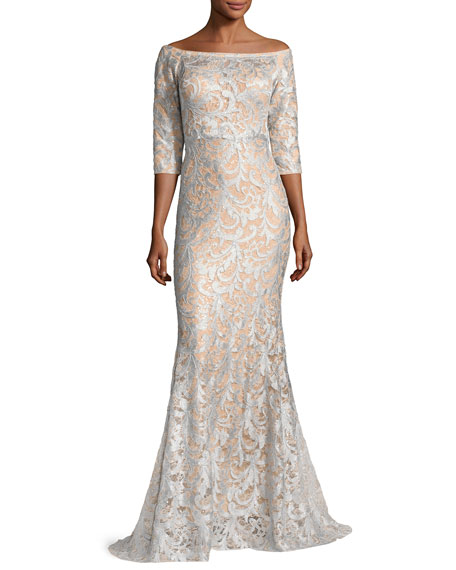 Jovani 3/4-Sleeve Lace Off-the-Shoulder Mermaid Gown, Light