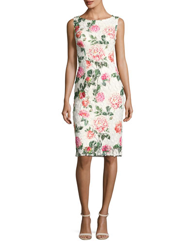 Embroidered Lace Cocktail Sheath Dress