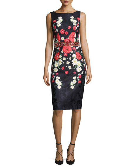 Jovani Sleeveless Beaded Floral Jacquard Cocktail Dress,