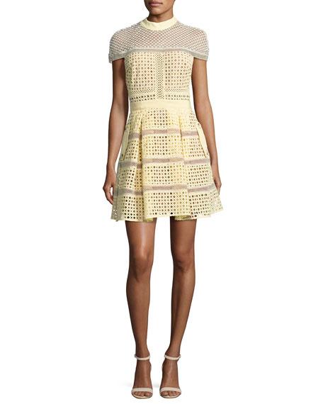 Self-Portrait Crosshatch Paneled Mini Dress, Yellow