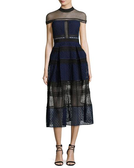 Self-Portrait Crosshatched Raglan Paneled Midi Dress