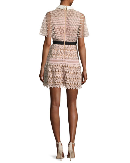 Floral-Lace Vine Cape Mini Dress, Blush