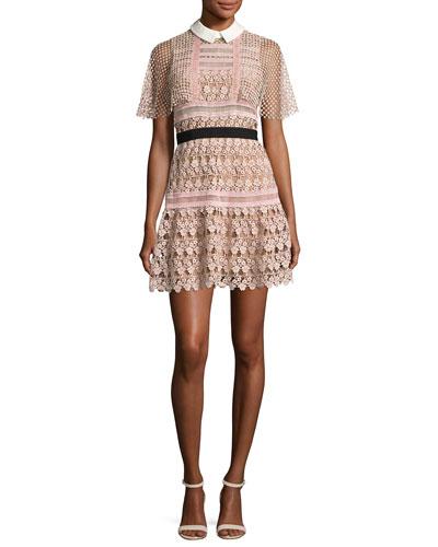 Floral-Lace Vine Cape Mini Dress, Blush