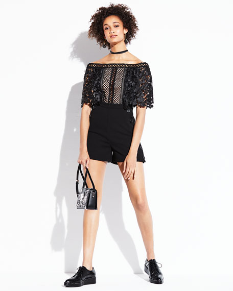 Off-the-Shoulder Playsuit, Black